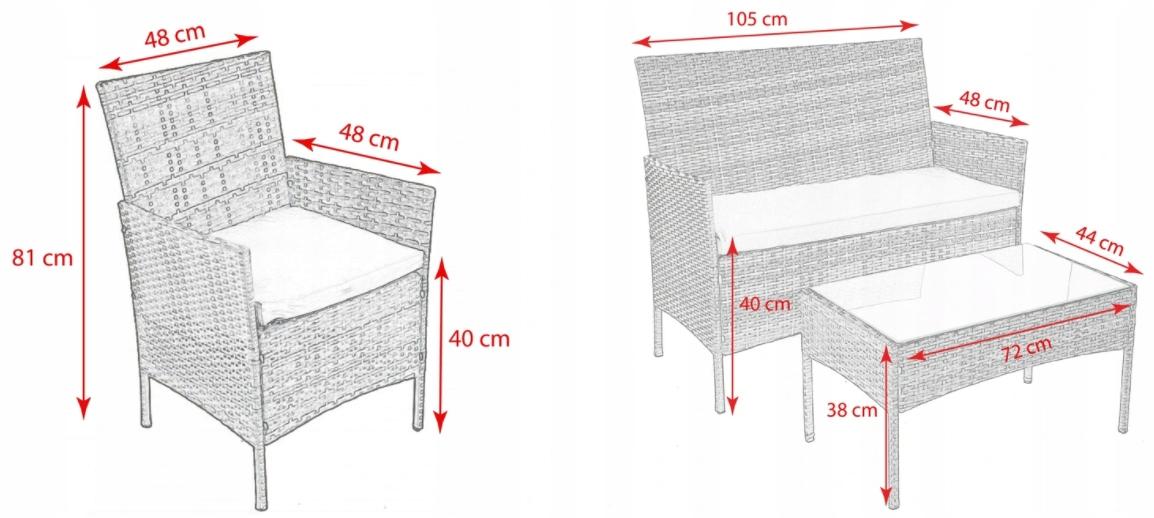 Садовая мебель из ротанга MOKKA размеры