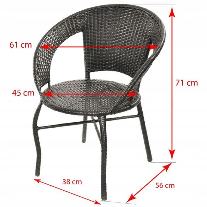 Размер стула Комплект мебели из ротанга Saturn